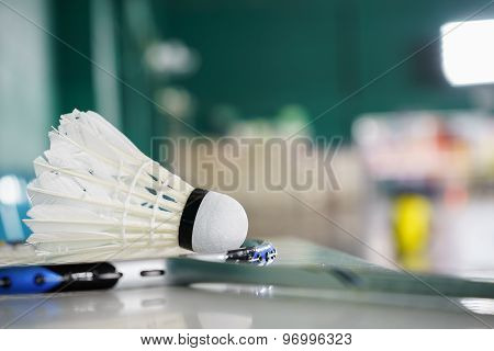 Shuttlecock For Badminton Sport Games On Racket