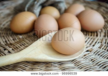 Chicken Eggs In Heap On Cover Basket