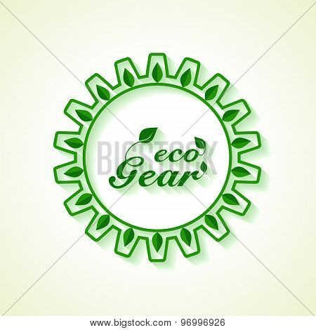 Save Nature concept with leaf and gear- vector illustration