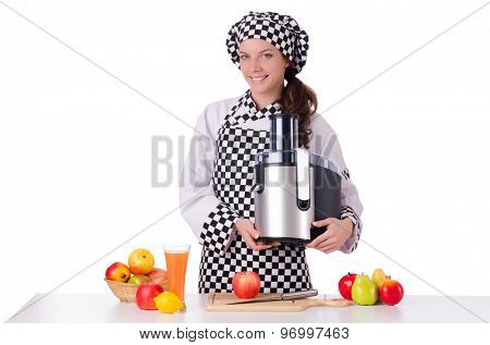 Female chef with fruits isolated on white