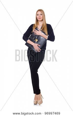 Tall young woman in black clothing with handbag isolated on white