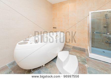 White bath in the bathroom