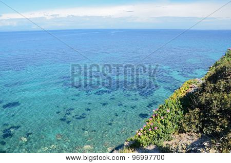 Beautiful Sea View On  Turquoise And Transparent Water Of Mediterranean Sea