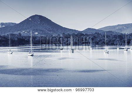 Porto-vecchio, Blue Toned Landscape With Yachts