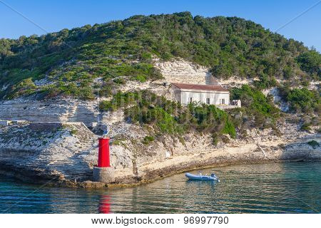 Red Lighthouse, Entrance To The Port Of Bonifacio