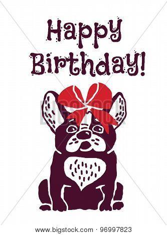 Dog present greeting card happy birthday