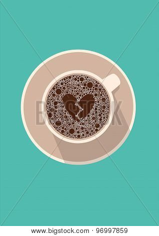 Coffee cup icon with broken heart. Vector illustration in flat design