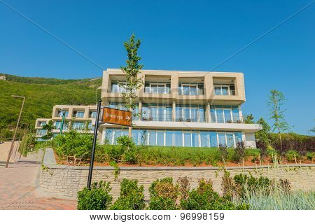 Modern house in bright summer day