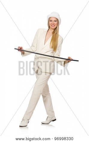 Blond hair girl with walking stick isolated on white