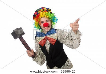 Female clown with hammer isolated on white