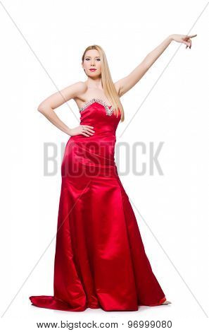 Woman in pretty red evening dress isolated on white