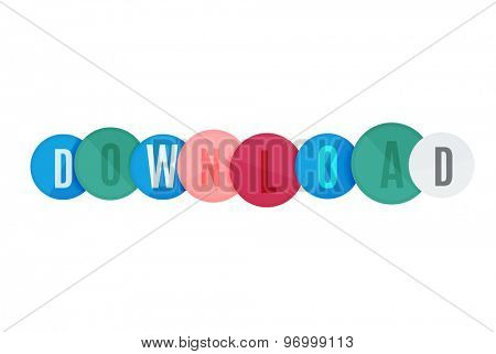 Download button made of glossy circles. Each letter on a separate circle.