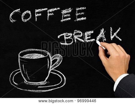 Coffee Break Writing On Blackboard With Coffee Cup