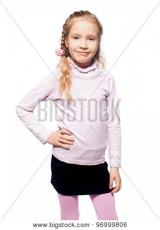 Girl isolated on white. School child elementary