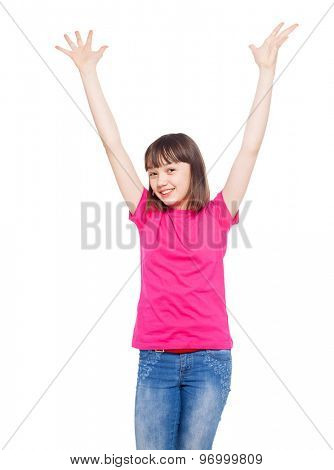 Child isolated on white. Happy teen