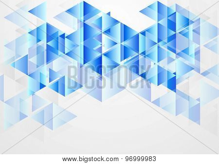 Blue bright abstract geometric background. Vector design