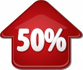 stock photo of 50s  - Upwards success glossy red arrow percent pointing up fifty 50 - JPG