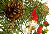 Isolated Pine Branch With Cones, Toys And Berries poster