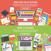 Постер, плакат: Online education web courses flat illustration concepts set