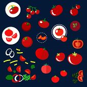 Постер, плакат: Red tomatoes vegetables flat icons