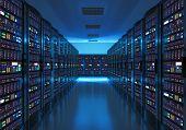 Server room interior in datacenter poster
