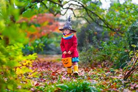 picture of halloween  - Little girl in witch costume playing in autumn park - JPG