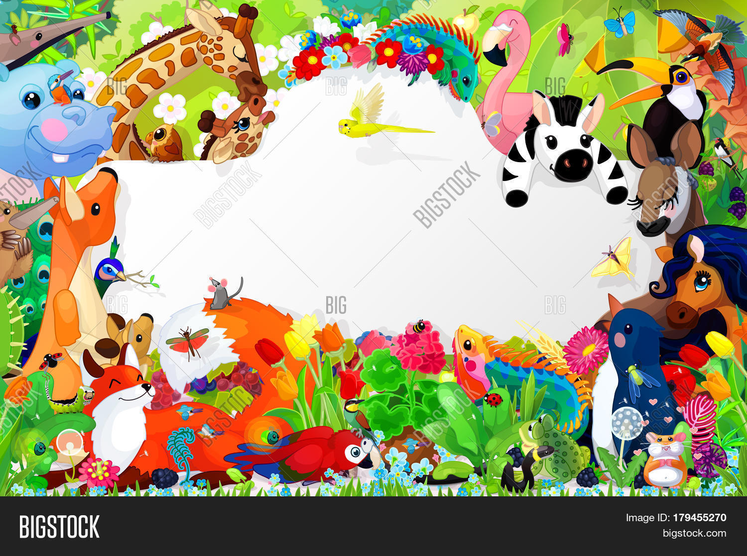 Book Cover Page Design For Kids ~ Cartoon animals book cover template image photo bigstock