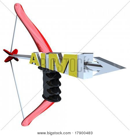 An arrow with the word Aim, pulled back on a red bow, symbolizing the importance of aiming for your goal or target to achieve success