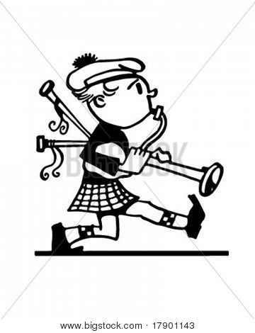 Marching Bagpiper - Retro Ad Art Illustration