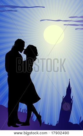 Vector illustration of couple kissing during tour in England