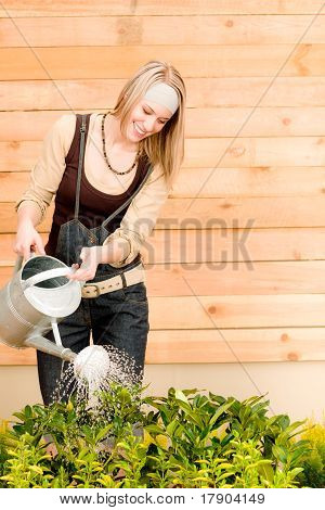 Gardening Woman Watering Plant Spring Terrace
