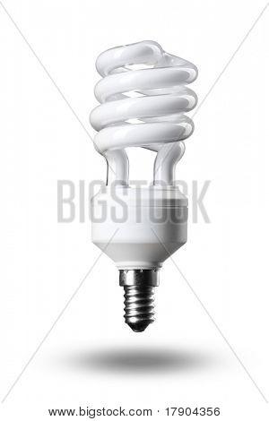 Energy saving fluorescent light bulb isolated on white