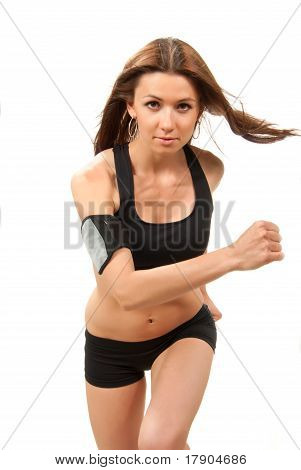 Woman Running, Jogging In Gym