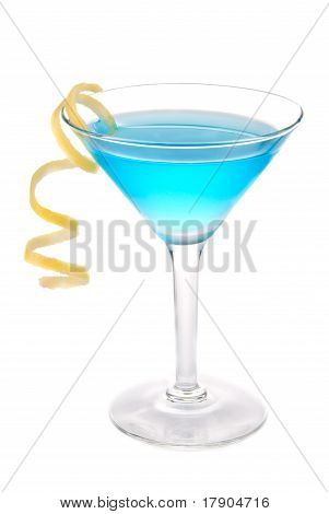 Blue Cosmopolitan Cocktail In Martini Cocktails Glass