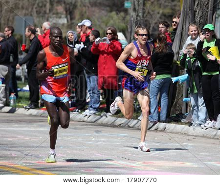 BOSTON - APRIL 18 : Elite Male Runners race up Heartbreak Hill during the Boston Marathon April 18,