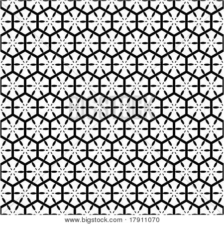 Seamless geometric pattern with hexagonal lattice.