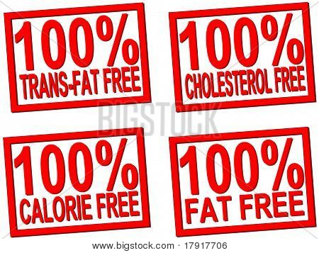 100% trans-fat, cholesterol, fat, calorie  free transparent stamps for food photos