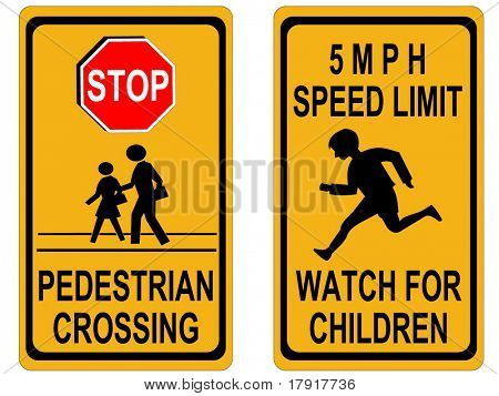stop pedestrian crossing sign and speed limit