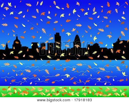 London Skyline in autumn with falling leaves