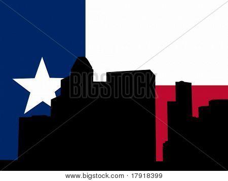 downtown Houston skyline and Texan flag illustration