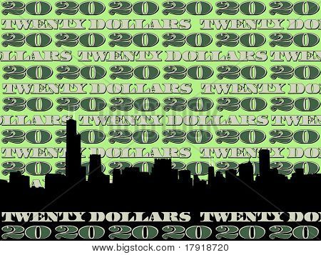 Chicago Skyline against twenty dollar bill