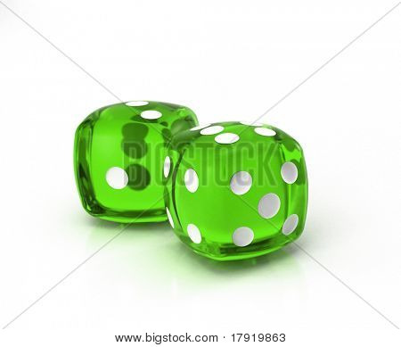 A pair of green dice on a neutral background