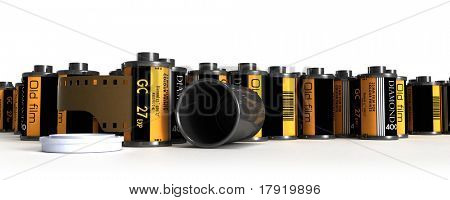 Shot of a batch of film canisters for analog cameras, isolated on white background