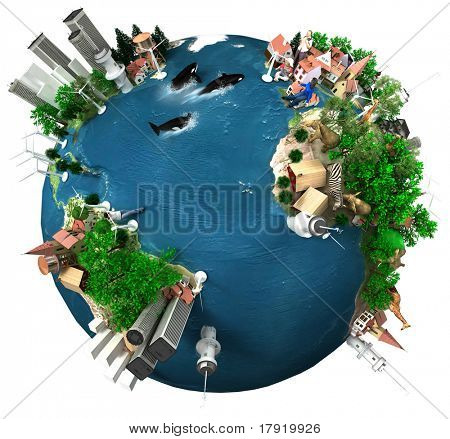 A symbolic overpopulated Earth isolated with white background