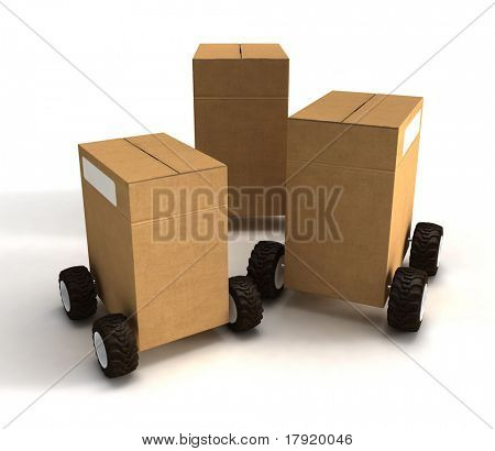 Three cardboard boxes packages on wheels