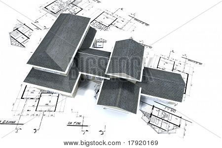 3D-rendering of a big expensive-looking house on top of architecture blueprints
