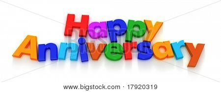 Happy Anniversary in colourful letter magnets on a neutral background