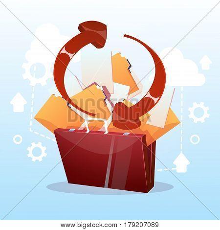 Open Briefcase Paper Document Cloud Storage Database Synchronization Business Concept Flat Vector Illustration