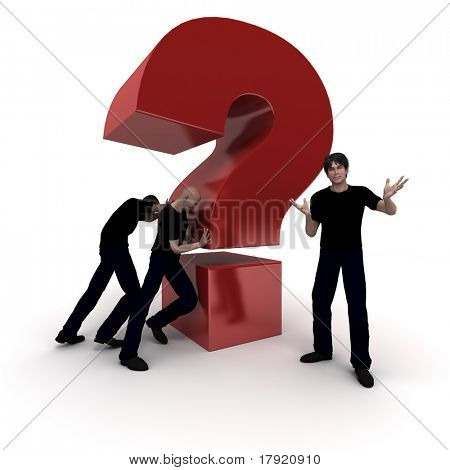 3D rendering of a big red question mark being pushed by a work team