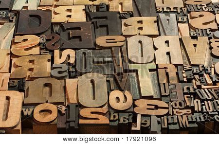 Background of vintage wooden print letter cases